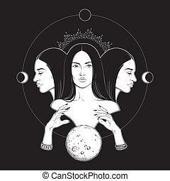 Lunar Goddess Hecate - Triple lunar Goddess Hecate ancient...