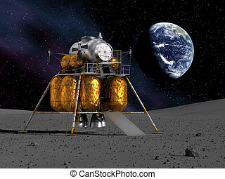 Lunar Lander On The Moon. 3D Scene.