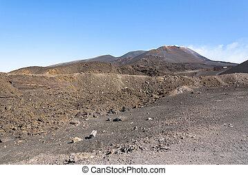 Lunar landscape of the Mount Etna