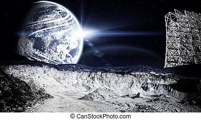 Lunar landscape with radar