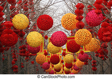 Lunar New Year Decorations, Ditan Park, Beijing, China. At ...