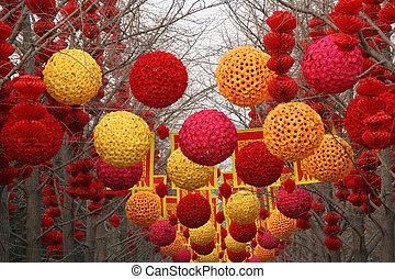 Lunar New Year Decorations, Ditan Park, Beijing, China. At...