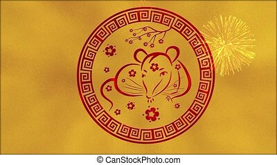 Lunar New Year, Spring Festival background with golden foil, rat, fireworks. Chinese new year animation for holiday event. 3D rendering seamless loop 4k video.