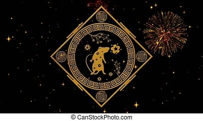 Lunar New Year, Spring Festival background with golden rat, fireworks, glittering stars. Chinese new year black starry night backdrop for holiday event. 3D rendering animation. Seamless loop 4k video