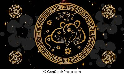 Lunar New Year, Spring Festival background with golden rat, glittering stars. Chinese new year black starry night backdrop for holiday event. 3D rendering animation. Seamless loop 4k video