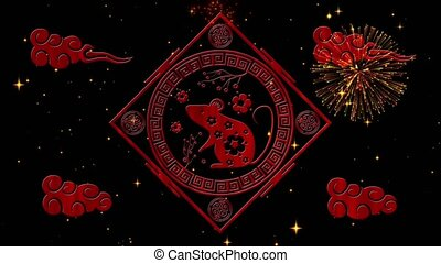 Lunar New Year, Spring Festival background with rat simbol, fireworks, glittering stars. Chinese new year black starry night backdrop for holiday event. 3D rendering animation. Seamless loop 4k video