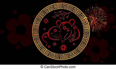 Lunar New Year, Spring Festival background with rat simbol, sakura, glittering fireworks. Chinese new year black magical night backdrop for holiday event 3D rendering animation. Seamless loop 4k video