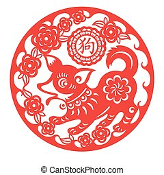 lunar, ornamento, perro, año