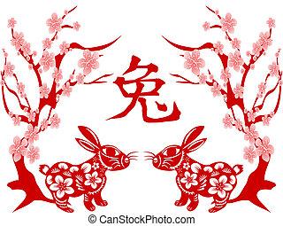 lunar, papercut, año, conejo