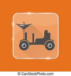 Lunar rover silhouette icon in flat style on transparent button