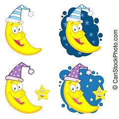 lunas, y, estrellas