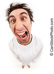 Lunatic - Fish eye shot of screaming insane man in...