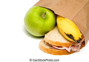 Lunch - A nutritious lunch in a brown bag.