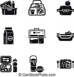 Lunch bag icon set, simple style
