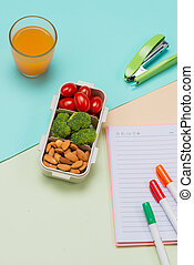 Lunch box and healthy food on isolated background