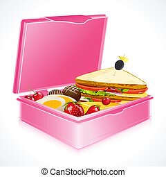 illustration of sandwich fruits and egg in lunch box