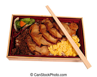 Lunch box with chopsticks-clipping path