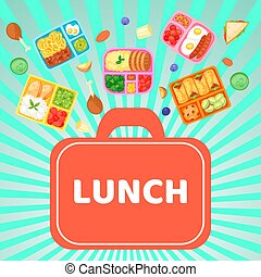 Lunch box with food banner vector illustration. Plastic containers with meal for school, work, university. Eggs with sausages, cherry tomatoes, cookies, boiled potato, noodles.
