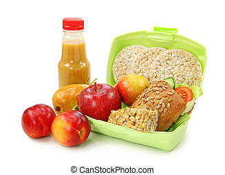 Lunch box with sandwich and fruits isolated on white background