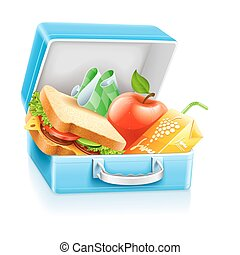 lunch box with sandwich apple and juice