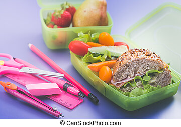 Lunch boxes with fresh breakfast. Breakfast school time concept.