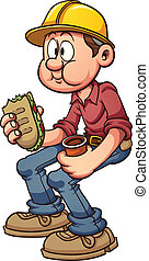 Construction worker having a lunch break. Vector clip art illustration with simple gradients. All in a single layer.