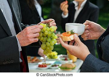 Lunch break in a company - Lunch break with healthy food in...