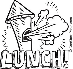 Doodle style lunch break illustration in vector format. Includes text and blowing whistle.