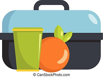 Lunch in box icon. Flat illustration of lunch in box vector icon for web