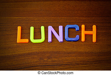 Lunch in colorful toy letters