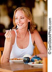 lunch, kvinna, ha