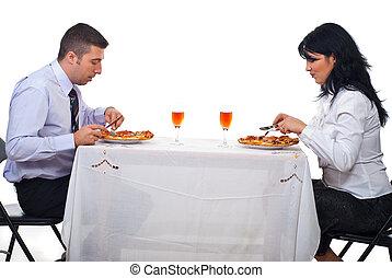 lunch, ludzie handlowe, posiadanie