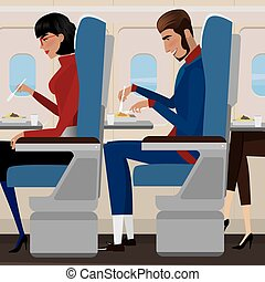 Lunch on the plane - People have lunch on the plane - in-...