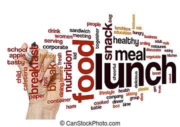 lunch, ord, moln, begrepp