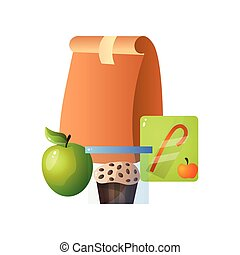 Lunch Paper Bag with Healthy Food, Apple, Muffin and Juice, School Lunch in Paper Packaging Vector Illustration