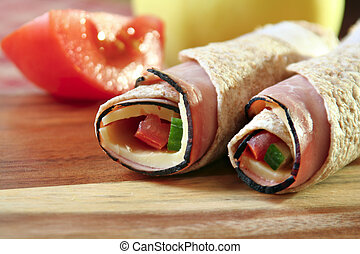 Lunch roll-up - Back to school lunch, rolled up tortilla...