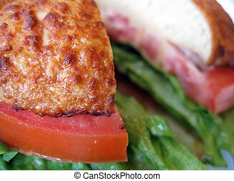 Lunch Sandwich - Closeup of bacon, lettuce and tomato on a...