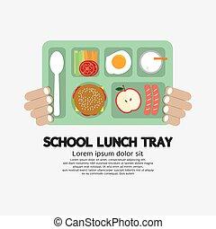 lunch, skola, bricka., räcka lämna