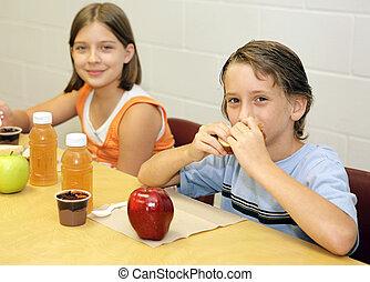 lunch, skola, -, tillsammans