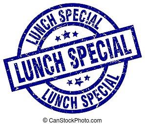 lunch special blue round grunge stamp