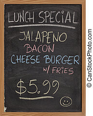 lunch special menu sign - jalapeno, bacon, cheese burger,...