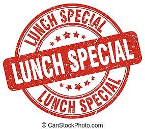 lunch special red grunge round vintage rubber stamp