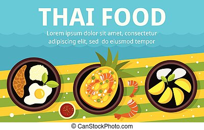 Lunch thai food concept banner, flat style