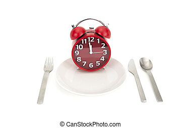 Lunch Time - A Red clock on a plate