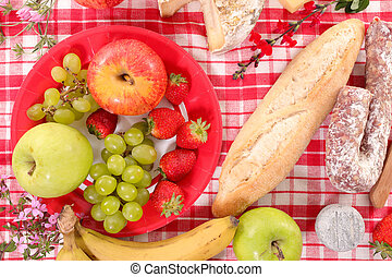 lunch time, baguette, salami and fruits