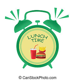 a green clock indicating it is time for lunch with some food in its center