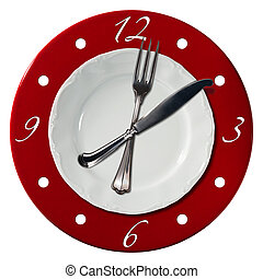 Lunch Time Concept - Clock composed by a white plate and a...