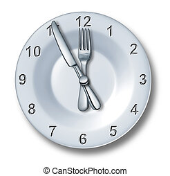 Lunch time dining concept with a fork and knife on a plate in the shape of a clock with numbers as a symbol of eating time or fast food entertainment in the food and drink catering business on a white background.
