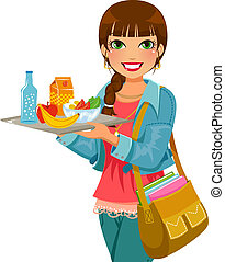 girl holding a tray with lunch