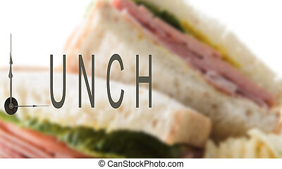 Lunch Time - Lunch time with clock hands and sandwich in the...